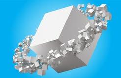 Cubos clasificados al azar que giran en órbita eliptic alrededor del cubo ilustración del vector