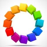 Cubos coloreados 3D Foto de archivo libre de regalías