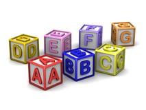 Um B C D E F G rotula cubos Imagem de Stock