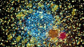 Cubos coloridos de la rejilla del átomo, bokeh de la falta de definición defocused en el fondo negro, 3D representación, ejemplo  Imagen de archivo