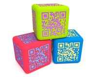 Cubos coloridos 3 de QR Foto de Stock Royalty Free