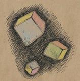 Cubos coloridos do voo Imagem de Stock