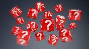 Cubos com o 3D que rende pontos de interrogação Imagens de Stock Royalty Free