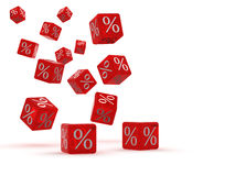 Cubos com por cento Imagens de Stock Royalty Free