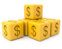 Cubos com sinal de dólar Imagens de Stock