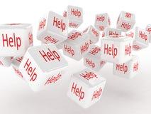 Cubos com uma ajuda, imagens 3D Fotos de Stock Royalty Free