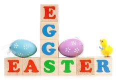 Cubos con los huevos Foto de archivo libre de regalías