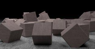 Cubos concretos colocados caóticos con la muestra extraña Fotos de archivo libres de regalías