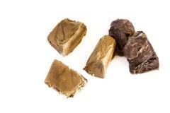 Cubos congelados do chocolate fotografia de stock