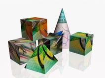 Cubos, cono y pirámide stock de ilustración