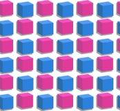 Cubos cor-de-rosa do vetor e azuis sem emenda Imagens de Stock