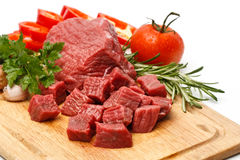 Cubos da carne imagens de stock royalty free