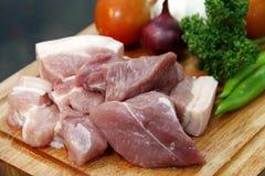 Cubos da carne de porco Foto de Stock