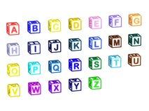 Cubos da letra do A-Z isolados no branco Imagem de Stock