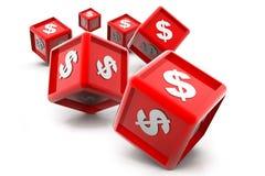 Cubos da moeda do dólar Imagem de Stock