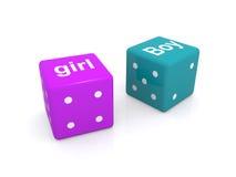 Cubos da palavra da menina e do menino Fotografia de Stock Royalty Free