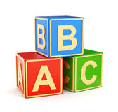 Cubos de ABC del alfabeto Imágenes de archivo libres de regalías
