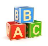 Cubos de ABC do alfabeto Imagens de Stock Royalty Free