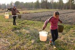 Cubos de agua de la muchacha que llevan campesina rusa Fotos de archivo