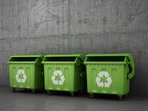 Cubos de basura del bote de basura Imágenes de archivo libres de regalías