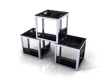 cubos de cristal 3D con la frontera del metal Fotografía de archivo