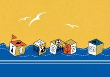 Cubos de flutuação do brinquedo com a imagem das figuras, dos sinais dos povos, de uma âncora e de uma bola Pássaros brancos no c ilustração royalty free