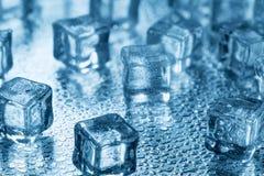 Cubos de gelo azuis transparentes de derretimento no vidro Fotografia de Stock