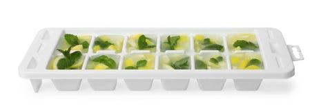 Cubos de gelo com limão e hortelã na bandeja fotografia de stock