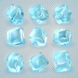 Cubos de gelo 3d realísticos isolados no fundo transparente Grupo do vetor ilustração royalty free