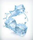 Cubos de gelo e um respingo da água ilustração stock