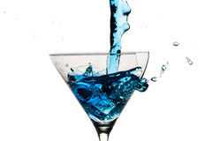 Cubos de gelo e vidro de martini Fotografia de Stock Royalty Free
