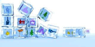 Cubos de gelo em um ano novo feliz Imagem de Stock Royalty Free