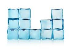Figuras dos cubos de gelo azuis   foto de stock royalty free