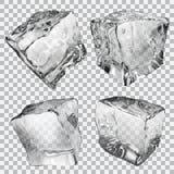 Cubos de gelo transparentes ilustração do vetor