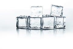 Cubos de gelo transparentes com gotas da água isolados no fundo branco Fotografia de Stock Royalty Free