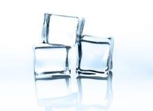 Cubos de gelo transparentes com reflexão isolados no branco Imagem de Stock
