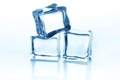 Cubos de gelo transparentes com reflexão isolados no branco Foto de Stock Royalty Free