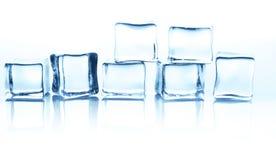 Cubos de gelo transparentes com reflexão isolados no branco Imagens de Stock Royalty Free