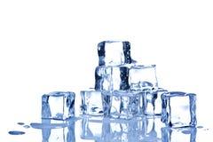 Cubos de hielo aislados en el fondo blanco Imágenes de archivo libres de regalías