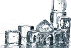Cubos de hielo de fusión en lluvia Fotos de archivo