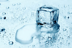 Cubos de hielo en el agua Foto de archivo libre de regalías