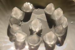 Cubos de hielo en la placa fotografía de archivo