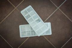 Cubos de hielo en moldes del bloque Imágenes de archivo libres de regalías