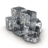 Cubos de hielo fijados en el fondo blanco Fotografía de archivo
