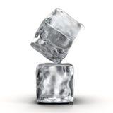 Cubos de hielo fijados en el fondo blanco Fotos de archivo