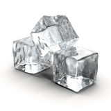 Cubos de hielo fijados en el fondo blanco Imagen de archivo libre de regalías