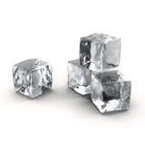 Cubos de hielo fijados en el fondo blanco Fotografía de archivo libre de regalías