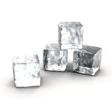 Cubos de hielo fijados en el fondo blanco Foto de archivo libre de regalías