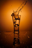 Cubos de hielo que salpican en el vidrio de agua Imágenes de archivo libres de regalías