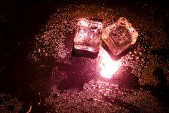 Cubos de hielo rojos Imagen de archivo libre de regalías